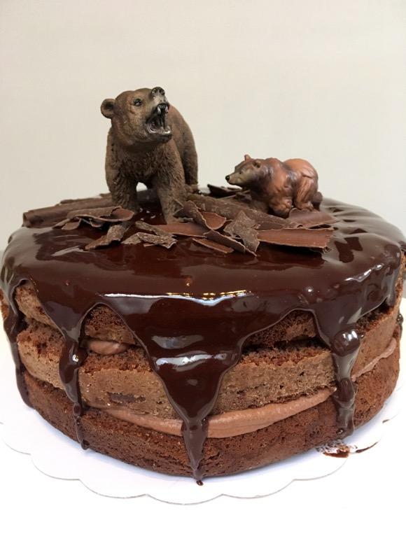 Bruine beer taart en ijsbeertaart voor een berekerel van 2