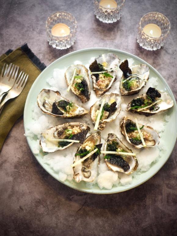 Asian style oesters met salade van venkel en appel