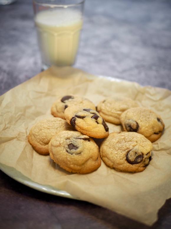 Chocolate chip cookies met hazelnootboter